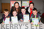 Crafty writers<br /> -----------------<br /> Pupils from Ballyferritor National School who received their medals and certs last Monday evening in the Tralee Education Centre,North Campus,Tralee IT, after their books were chosen in the Irish book writing competition for primary schools in the county,the Gradam Awards were (front) L-R Tadhg O Beagloich, Niamh Nic Gearailt, Aodhan O Dublin ages Antaine O Seaghdha (back) Catriona O Shuilleabhain ( presented the certs and medals on behalf of Foras Na Gaeilge agus Catriona Ni Chullota (director of Tralee Education Centre)