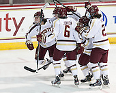Meagan Mangene (BC - 24), Emily Field (BC - 15), Kaliya Johnson (BC - 6), Haley McLean (BC - 13), Andie Anastos (BC - 23) - The Boston College Eagles defeated the Northeastern University Huskies 3-0 on Tuesday, February 11, 2014, to win the 2014 Beanpot championship at Kelley Rink in Conte Forum in Chestnut Hill, Massachusetts.