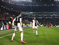 Calcio, Coppa Italia round 8 : Juventus - AS Roma, Turin, Allianz Stadium, January 22, 2020.<br /> Juventus' Cristiano Ronaldo (l) celebrates after scoring with his teammate Danilo (r) during the Italian Cup football match between Juventus and Roma at the Allianz stadium in Turin, January 22, 2020.<br /> UPDATE IMAGES PRESS/Isabella Bonotto