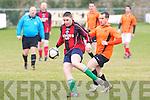 Kilflynn Santos Gary Hanafin and Annascaul FC's Paul Whelan in action at Mounthawk park, Tralee on Sunday.