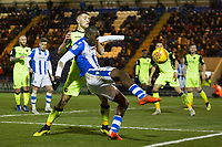 Frank Nouble of Colchester United tries to keep the ball alive and hook into the danger area under pressure from Dara O'Shea of Exeter City during Colchester United vs Exeter City, Sky Bet EFL League 2 Football at the JobServe Community Stadium on 24th November 2018
