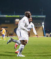 Adebayo Akinfenwa of Wycombe Wanderers celebrates scoring his goal during the The Checkatrade Trophy  Quarter Final match between Mansfield Town and Wycombe Wanderers at the One Call Stadium, Mansfield, England on 24 January 2017. Photo by Andy Rowland.