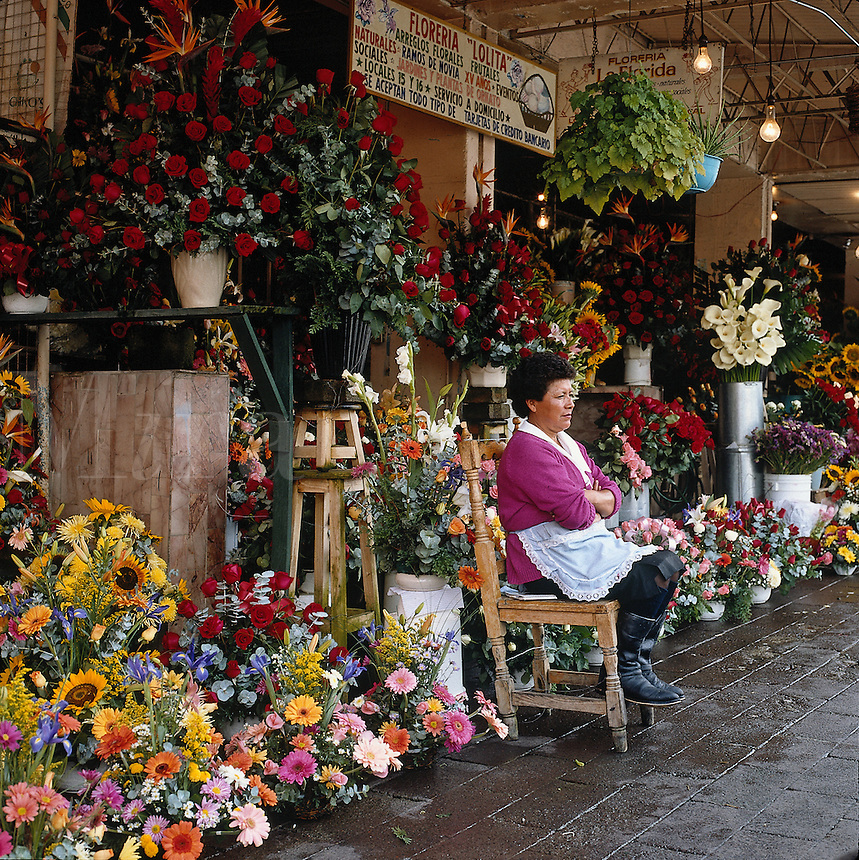 Vendor of flowers in Mexico City--series - woman sitting in front of flower stall. Mexico City Distrito Federal, Mexico.