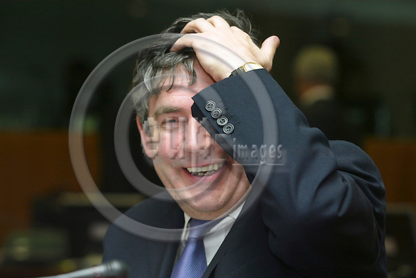 BRUSSELS - BELGIUM - 18 JANUARY 2005 --ECO/FIN EU-Council meeting with Finance Ministers. -- Gordon BROWN, UK Chancellor of the Exchequer. --  PHOTO: ERIK LUNTANG / EUP-IMAGES