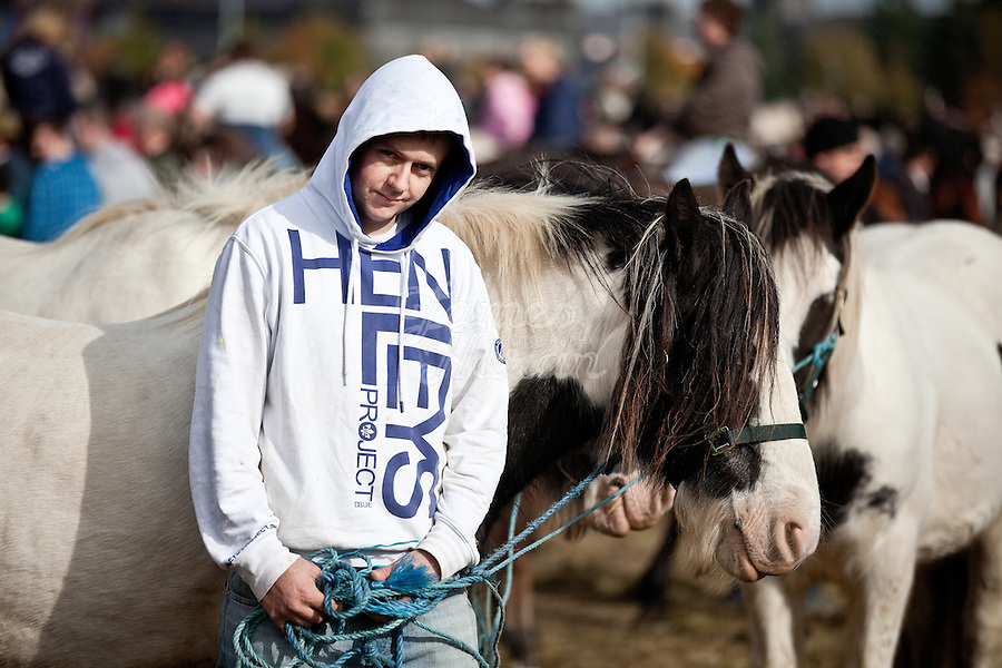9/10/2010.  Horse trader Ross O Donnell from Kilbeacanty Co Galway is pictured at the Ballinasloe Horse Fair, Ballinasloe, County Galway, Ireland. Picture James Horan