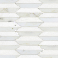 Fairfax 2, a hand-cut stone mosaic shown in Thassos and honed Calacatta Tia, is part of the Silk Road® collection by New Ravenna.