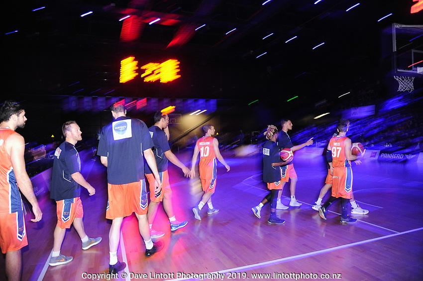 The Sharks walk out for the national basketball league match between Cigna Wellington Saints and Southland Sharks at TSB Bank Arena in Wellington, New Zealand on Thursday, 25 April 2019. Photo: Dave Lintott / lintottphoto.co.nz