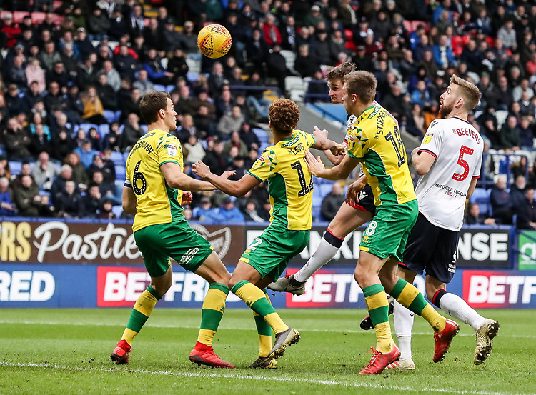 Bolton Wanderers' Callum Connolly heads at goal<br /> <br /> Photographer Andrew Kearns/CameraSport<br /> <br /> The EFL Sky Bet Championship - Bolton Wanderers v Norwich City - Saturday 16th February 2019 - University of Bolton Stadium - Bolton<br /> <br /> World Copyright © 2019 CameraSport. All rights reserved. 43 Linden Ave. Countesthorpe. Leicester. England. LE8 5PG - Tel: +44 (0) 116 277 4147 - admin@camerasport.com - www.camerasport.com