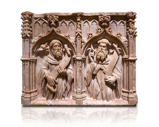 Gothic alabaster relief sculpture of two profits by Pere Oller, circa 1415, from the convent del Carme, Girona, Spain..  National Museum of Catalan Art, Barcelona, Spain, inv no: MNAC 214163. Against a white background.
