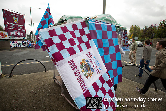 Burnley 1 West Ham United 3, 18/10/2014. Turf Moor, Premier League. Souvenirs on sale outside The fixture was won by the visitors by three goals to one watched by 18,936 spectators. The defeat meant that Burnley still had not won a league match since being promoted from the Championship the previous season. Photo by Colin McPherson.