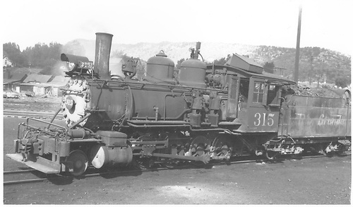 3/4 fireman's-side view of D&amp;RGW #315 switching, probably at Durango.<br /> D&amp;RGW  Durango ?, CO