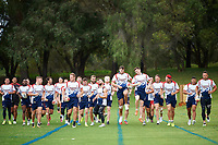The team warmup. England Rugby Training Session from McGilvray Oval, Perth, Western Australia. Rugby League World Cup 2017. 17th October 2017. Copyright Image: Daniel Carson / www.photosport.nz COPYRIGHT PICTURE mandatory credit Daniel Carson/SWpix.com/PhotosportNZ