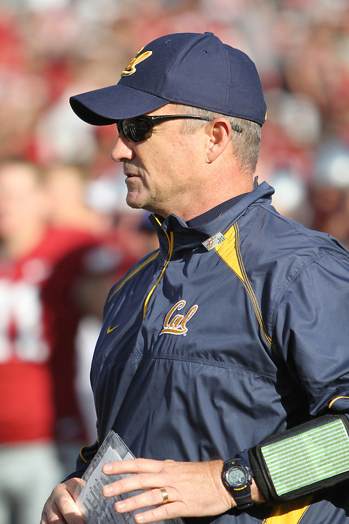 California head football coach, Jeff Tedford, leaves the field after his Cal football team defeated the  Washington State Cougars in a Pac-10 conference game at Martin Stadium in Pullman, Washington, on November 6, 2010.  The Cougars put a scare in to the Bears, but Cal finally pulled away and prevailed, 20-13.
