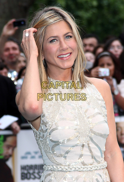 "Jennifer Aniston.""Horrible Bosses"" UK Premiere, BFI, London, England..20th July 2011.half length length white cream dress sheer gold hand ring smiling sleeveless braid braided belt sequins sequined .CAP/ROS.©Steve Ross/Capital Pictures"