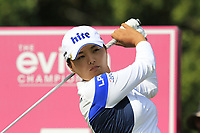 Jin Young Ko (KOR) tees off the 5th tee during Friday's Round 2 of The Evian Championship 2018, held at the Evian Resort Golf Club, Evian-les-Bains, France. 14th September 2018.<br /> Picture: Eoin Clarke | Golffile<br /> <br /> <br /> All photos usage must carry mandatory copyright credit (&copy; Golffile | Eoin Clarke)
