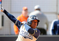 Florida International University outfielder/left handed pitcher Ashley McClain (2) plays against the University of Illinois.  FIU won the game 8-0 on February 12, 2012 at Miami, Florida. .