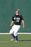 Kentucky Wesleyan Panthers outfielder Connor Petschke (23) during a game against Slippery Rock University at Jack Russell Stadium on March 14, 2014 in Clearwater, Florida.  Slippery Rock defeated 18-13.  (Mike Janes/Four Seam Images)