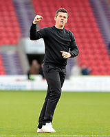 Fleetwood Town manager Joey Barton celebrates at the final whistle<br /> <br /> Photographer David Shipman/CameraSport<br /> <br /> The EFL Sky Bet League One - Doncaster Rovers v Fleetwood Town - Saturday 6th October 2018 - Keepmoat Stadium - Doncaster<br /> <br /> World Copyright &copy; 2018 CameraSport. All rights reserved. 43 Linden Ave. Countesthorpe. Leicester. England. LE8 5PG - Tel: +44 (0) 116 277 4147 - admin@camerasport.com - www.camerasport.com