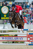 PAWLOW, ridden by Will Faudree (USA), competes during Stadium Jumping at the Rolex 3-Day Event at the Kentucky Horse Park in Lexington, Kentucky on April 28, 2013.