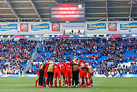 Wales players huddle after the final whistle during the UEFA EURO 2020 Qualifier match between Wales and Slovakia at the Cardiff City Stadium, Cardiff, Wales, UK. Sunday 24 March 2019