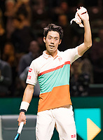 Rotterdam, The Netherlands, 12 Februari 2019, ABNAMRO World Tennis Tournament, Ahoy, first round singles: Kei Nishikori (JPN) celebrates he defeated Pierre-Hugues Herbert (FRA),<br /> Photo: www.tennisimages.com/Henk Koster