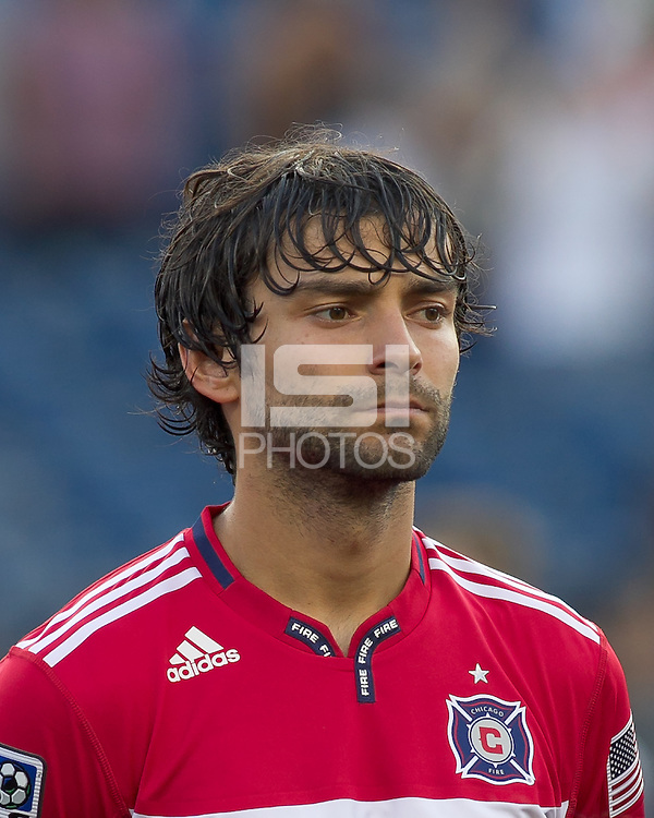 Chicago Fire midfielder Baggio Husidic (9). In a Major League Soccer (MLS) match, the New England Revolution tied the Chicago Fire, 1-1, at Gillette Stadium on June 18, 2011.