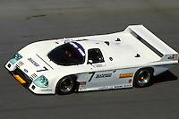 DAYTONA BEACH, FL - FEBRUARY 1: The Zakspeed USA Ford Mustang Probe of David Hobbs, Gianpiero Moretti and Whitney Ganz is driven on the Turn 4 banking during practice for the 24 Hours of Daytona IMSA GT race at the Daytona International Speedway in Daytona Beach, Florida, on February 1, 1987.