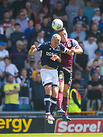 Aston Villa James Chester and Millwall's Steve Morison during the Sky Bet Championship match between Millwall and Aston Villa at The Den, London, England on 6 May 2018. Photo by Andrew Aleksiejczuk / PRiME Media Images.