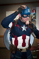 Andrew Gordon, known officiall az Captain America Az, plays Captain America at various appearances to promote the character, including appearing at Marvel film debuts in Arizona. By day he teahes seminary at the Church of Latterday Saints near Chandler High School.