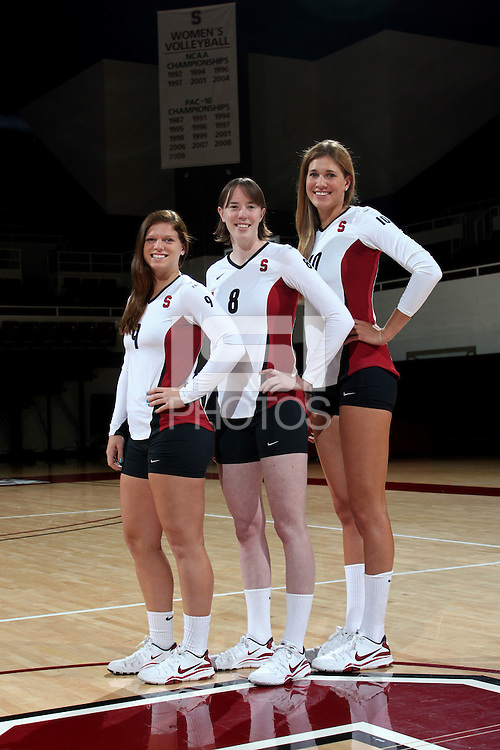 STANFORD, CA - MAY 25: Gabi Ailes, Cassidy Lichtman and Alix Klineman of the Stanford Cardinal during spring picture day on May 25, 2010 at Maples Pavilion in Stanford, California.