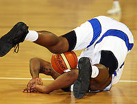 Saints forward Damon Thornton falls over during the NBL match between the Wellington Saints and Christchurch Cougars at Te Rauparaha Stadium, Porirua, Wellington, New Zealand on Saturday 4 April 2009. Photo: Dave Lintott / lintottphoto.co.nz