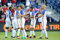Kansas City, KS. - May 28, 2016: The U.S. Men's national team take a 2-0 lead over Bolivia in first half action from a goal by John Brooks during an international friendly tuneup match prior to the opening of the 2016 Copa America Centenario at Children's Mercy Park.  The final score was 4-0 to USMNT.
