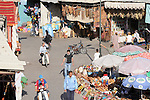 A busy section of the Souk in Marrakesh, Morocco.