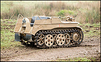 BNPS.co.uk (01202 558833)<br /> Pic: Bonhams/BNPS<br /> <br /> More a kitten than a tiger tank...this bizarre tracked motorbike from the WW2 German army has emerged for sale.<br /> <br /> The Nazi military vehicle resembling a motorbike crossed with a tank was actually the fastest tracked vehicle of the Second World War.<br /> <br /> Capable of 50mph the relatively light, multi-terrain vehicle proved itself in the mud and ice of the Eastern front during WW2 and could be transported inside a Junkers 52 aircraft.<br /> <br /> This intelligent machine made the Allies' corresponding tractors, which were all jeep-like in their design, look entirely unsophisticated. <br /> <br /> The vehicle, valued at &pound;80,000, is being sold by Bonhams in Chichester, W. Susx, on March 19.