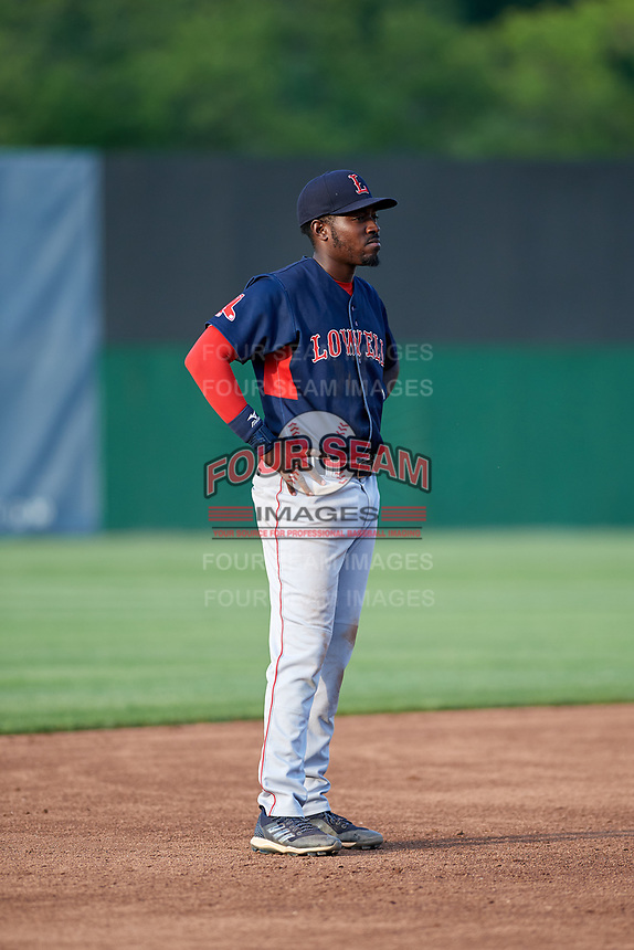 Lowell Spinners third baseman Xavier LeGrant (15) during a game against the Auburn Doubledays on July 13, 2018 at Falcon Park in Auburn, New York.  Lowell defeated Auburn 8-5.  (Mike Janes/Four Seam Images)