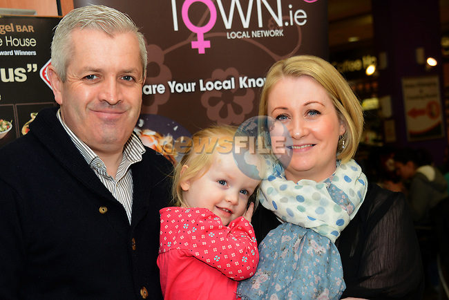 Mumstown.ie proprietors David White and Siobhán O'Neill White with their daughter Summer at the Mumstown parent and toddlers coffee morning in the Laurence Town Centre. www.newsfile.ie
