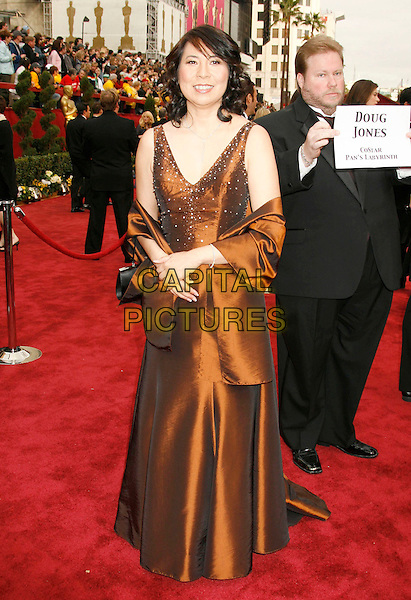 IRIS YAMASHITA.The 79th Annual Academy Awards - Arrivals held at the Kodak Theatre, Hollywood, California, USA,.25 February 2007..oscars red carpet full length brown bronze dress wrap.CAP/ADM/RE.©Russ Elliot/AdMedia/Capital Pictures.