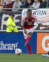 Portland Timbers midfielder/defender Rodney Wallace (22) passes the ball. In a Major League Soccer (MLS) match, the New England Revolution defeated Portland Timbers, 1-0, at Gillette Stadium on March 24, 2012