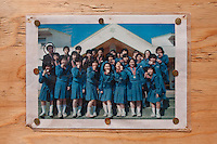 A school photo displayed on the site of a school destroyed by the March 11th tsunami in Kitahara and Kaibama, Haramachi ku, Soma, Fukashima, Japan. Wednesday May 4th 2011