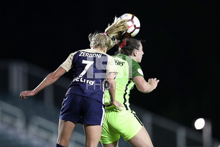 Cary, North Carolina  - Wednesday April 18, 2018: McCall Zerboni and Morgan Andrews during a regular season National Women's Soccer League (NWSL) match between the North Carolina Courage and the Seattle Reign FC at Sahlen's Stadium at WakeMed Soccer Park.