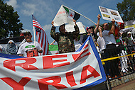 August 31, 2013  (Washington, DC)  Syrian-American protesters rally to support a free Syria in front of the White House August 31, 2013.   (Photo by Don Baxter/Media Images International)