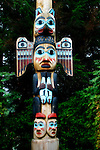 Alaskan Native American totem pole are used to tell stories and convey clan heritage.