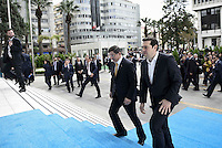 Pictured: Alexis Tsipras (R) arrives for the meeting Tuesday 08 March 2016<br /> Re: The Prime Ministers of Turkey Ahmet Davutoglu and Greece Alexis Tsipras have met in Smyrna, Turkey to discuss ways to enhance their cooperation as both countries are grappling with an influx of migrants,
