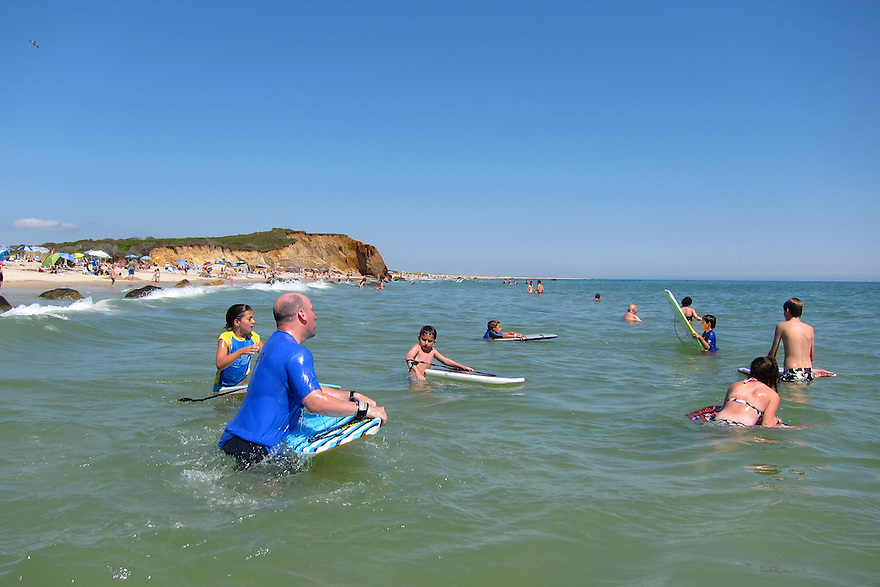 Swimmers at Lucy Vincent Beach in Chilmark, MA on the island of Martha's Vineyard.
