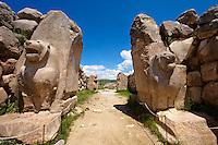 Photo of the Hittite releif sculpture on the Lion gate to the Hittite capital Hattusa 4