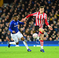 Lincoln City's Harry Toffolo vies for possession with Everton's Ademola Lookman<br /> <br /> Photographer Andrew Vaughan/CameraSport<br /> <br /> Emirates FA Cup Third Round - Everton v Lincoln City - Saturday 5th January 2019 - Goodison Park - Liverpool<br />  <br /> World Copyright &copy; 2019 CameraSport. All rights reserved. 43 Linden Ave. Countesthorpe. Leicester. England. LE8 5PG - Tel: +44 (0) 116 277 4147 - admin@camerasport.com - www.camerasport.com