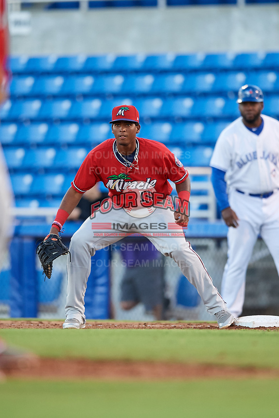 Fort Myers Miracle first baseman Lewin Diaz (11) during a game against the Dunedin Blue Jays on April 17, 2018 at Dunedin Stadium in Dunedin, Florida.  Dunedin defeated Fort Myers 5-2.  (Mike Janes/Four Seam Images)