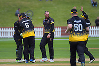 Iain McPeake celebrates dismissing Graeme Beghin during the trophy one day cricket match between Wellington Firebirds and Auckland Aces at the Basin Reserve in Wellington, New Zealand on Sunday, 4 November 2018. Photo: Dave Lintott / lintottphoto.co.nz