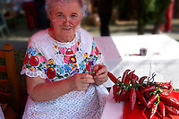 Old women  in traditional Kalocsa dress at the paprka festival making strings of chilis.  Kalocsa, Hungary
