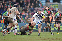 20130309 Copyright onEdition 2013©.Free for editorial use image, please credit: onEdition..Charlie Beech of Bath Rugby is tackled by Tom Guest of Harlequins during the LV= Cup semi final match between Harlequins and Bath Rugby at The Twickenham Stoop on Saturday 9th March 2013 (Photo by Rob Munro)..For press contacts contact: Sam Feasey at brandRapport on M: +44 (0)7717 757114 E: SFeasey@brand-rapport.com..If you require a higher resolution image or you have any other onEdition photographic enquiries, please contact onEdition on 0845 900 2 900 or email info@onEdition.com.This image is copyright onEdition 2013©..This image has been supplied by onEdition and must be credited onEdition. The author is asserting his full Moral rights in relation to the publication of this image. Rights for onward transmission of any image or file is not granted or implied. Changing or deleting Copyright information is illegal as specified in the Copyright, Design and Patents Act 1988. If you are in any way unsure of your right to publish this image please contact onEdition on 0845 900 2 900 or email info@onEdition.com